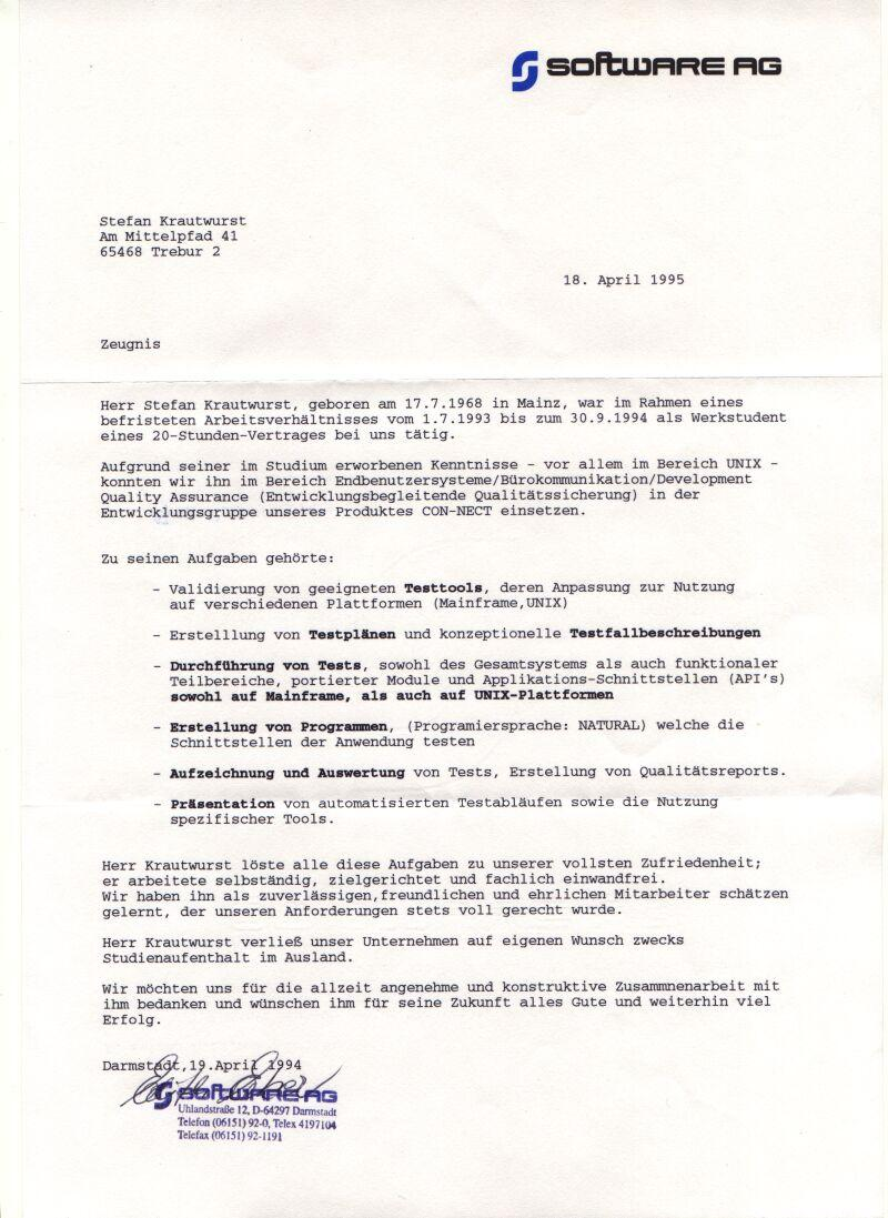 Letter of recommendation Software AG (1993/1994)